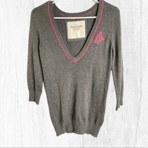 Abercrombie & Fitch Y2K Sweater Gray Pink Medium